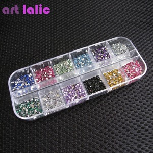 3000pcs 1.5mm Rhinestones Nail Decoration Round Colorful Glitters With Hard Case DIY Nail Art Decorations
