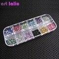 Nuevo 3000 unids Mix 12 Color de 1.5mm Círculo Granos Del Arte Del Clavo Glitters Nail Art Gems Decoración