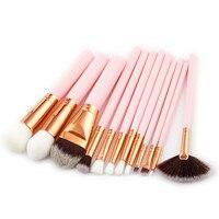 12 pcs Maquiagem Profissional Escova Eyeliner Eyeshadow Blending Pencil Ferramenta de Beleza Blush Pincel de Maquiagem De Alta Qualidade Cosméticos Kit Rosa