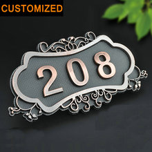 House Number European Style Classic Brone Like Gate Number Custom-made 3 to 4 Numbers Customized Door Plate for Apartment Hotel custom made halo lit address numbers