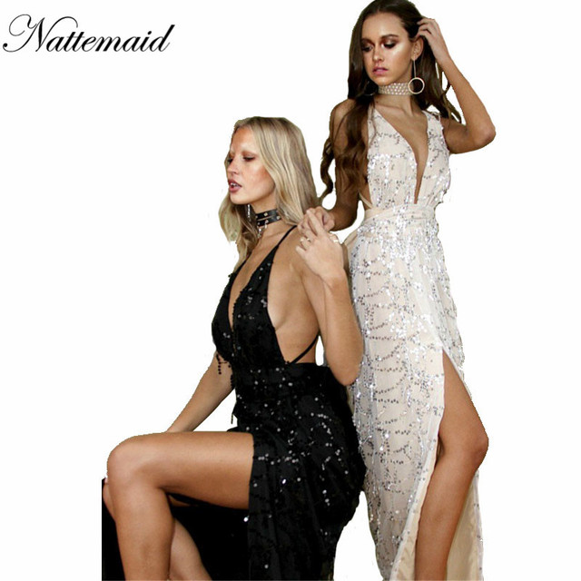 NATTEMAID Fashion Style Women Maxi Dress Sexy Elegant Long Party Dresses Deep V neck Floor Length Gold Sequined Tassels Vestidos