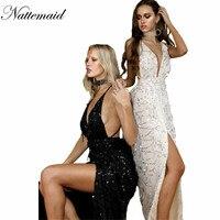 NATTEMAID Moda Stil Kadınlar Maxi Elbise Seksi Zarif Uzun Parti Elbiseler Derin V yaka Kat Uzunluk Altın Payetli Püsküller Vestidos