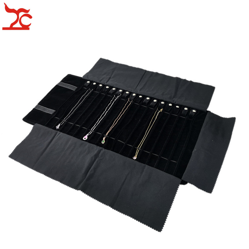 Wholesale Black Velvet Jewelry Display Rolls Travel Organizer Bag Foldable Earrings Ring Chain Pendant Necklace Storage Roll Bag