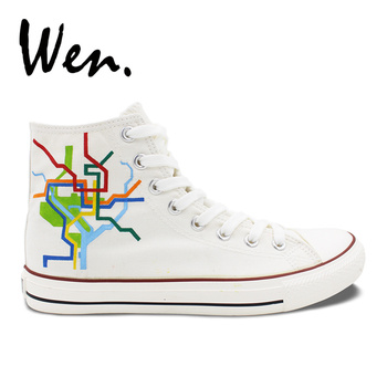 Wen Original Hand Painted Shoes Design Custom Washington City Map Unisex High Top Canvas Sneakers for Christmas Gifts