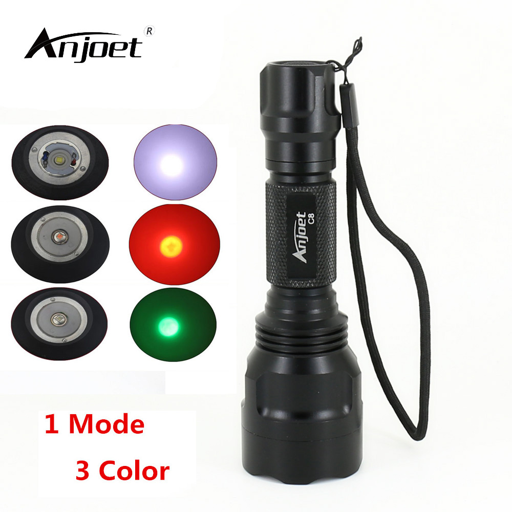 ANJOET Small led flashlight C8 XM-L T6 Q5 hight power 2000 lumens 1 mode torch lanterna light for Lightweight Travel Outdoor