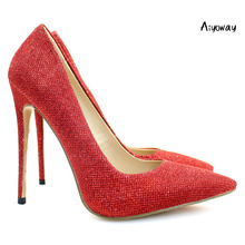 Aiyoway Elegant Women Ladies Pointed Toe High Heel Glitter Pumps Wedding Party Dress Shoes Red Handmade Slip On US Size 5-15