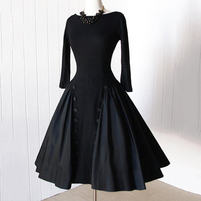 Clocolor Vintage Women Dresses 2017 Spring Black A-Line Party Backless Pullover Dresses Long Sleeve Knee-Length Vintage Dresses 7