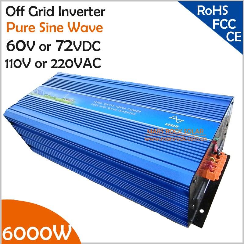 Onduleur PV onde Pure 6000W 60V/72VDC | 100/110/120VAC ou 220/230/240VAC, hors grille, solaire et éolienne