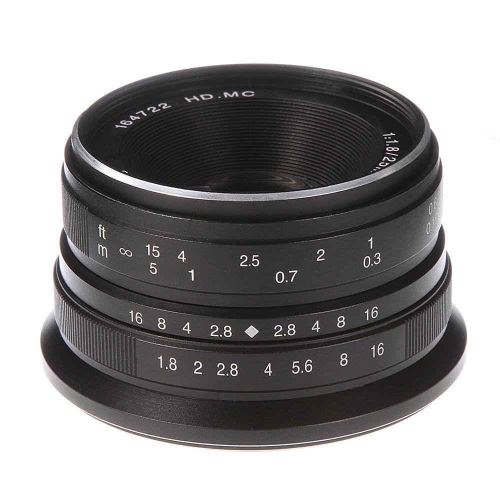 25mm F/1.8 HD MC Manual Focus Prime Lens for Fuji X-A1/A2 X-T1/T2/T10/T20 X-E1/E2 X-Pro1/Pro2 Silver/Black t2 red copper d150mm x 25mm 2pcs