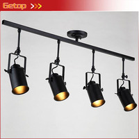 Retro American Track Lights Industrial Creative Living Room Bar Clothing Store Personality LED Long Pole Spotlights with E27