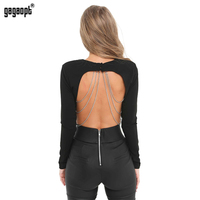 Gagaopt 2017 Autumn Women 95 Cotton Backless Crop Tops O Neck T Shirt Vintage Blusa Bodycon
