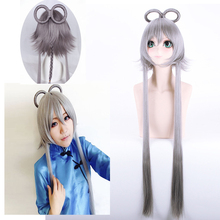 Hot Anime Game Luo Tianyi Wig Halloween Cosplay Costume Vocaloid Play Party Stage High Quality Gray Long Hair