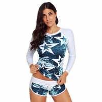 Bikinis 2019 mujer Women Long Sleeve UV Sun Protection UPF 50+ Rash Guard Top 2 Piece Swimsuit Set Cover-ups maillot de bain 30