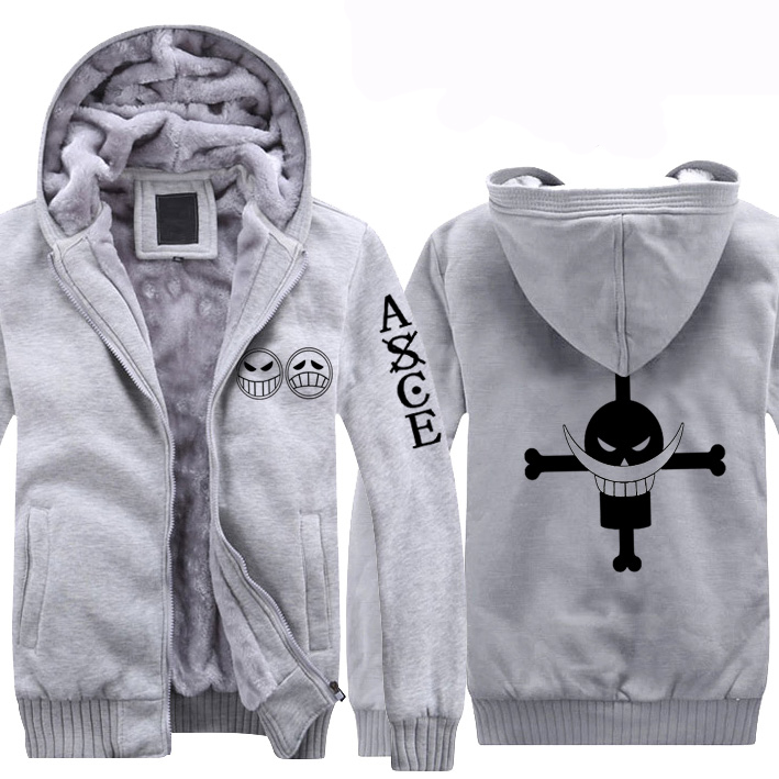 Men&womens casual cartoon One Piece Fire Fist Ace Edward fleece warm boys Hooded Sweatshirt Cosplay Hoodie Costumes cos Clothing