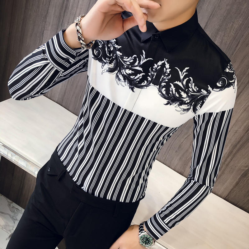 0f4c574f6ec5 Βρετανοί μπλουζάκια στυλ μόδας 2019 Φθινόπωρο Νέο λεπτό Fit Εκτύπωση Tuxedo  πουκάμισα Mens μακρύ μανίκι Cas.