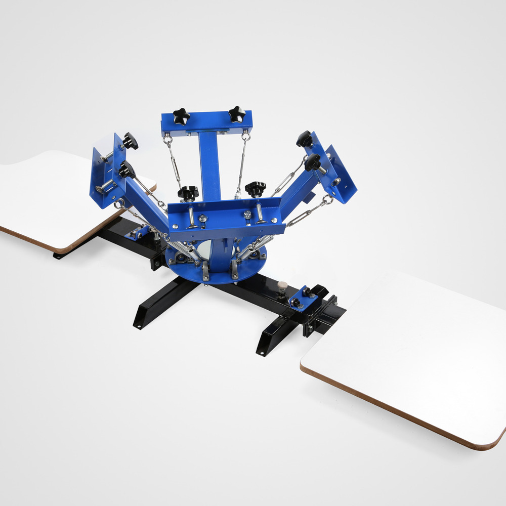 4 Color 4 Station Mophorn Screen Printing Machine 4 Color 4 Station Silk Screen Printing Machine Screen Printing Press Adjustable Double Spring Devices