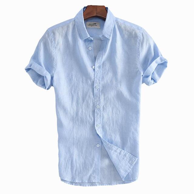 b9a5fb042e Novo 2018 Homens de Linho Moda Verão Curto-luva Camisa Dos Homens Slim Fit  Masculino