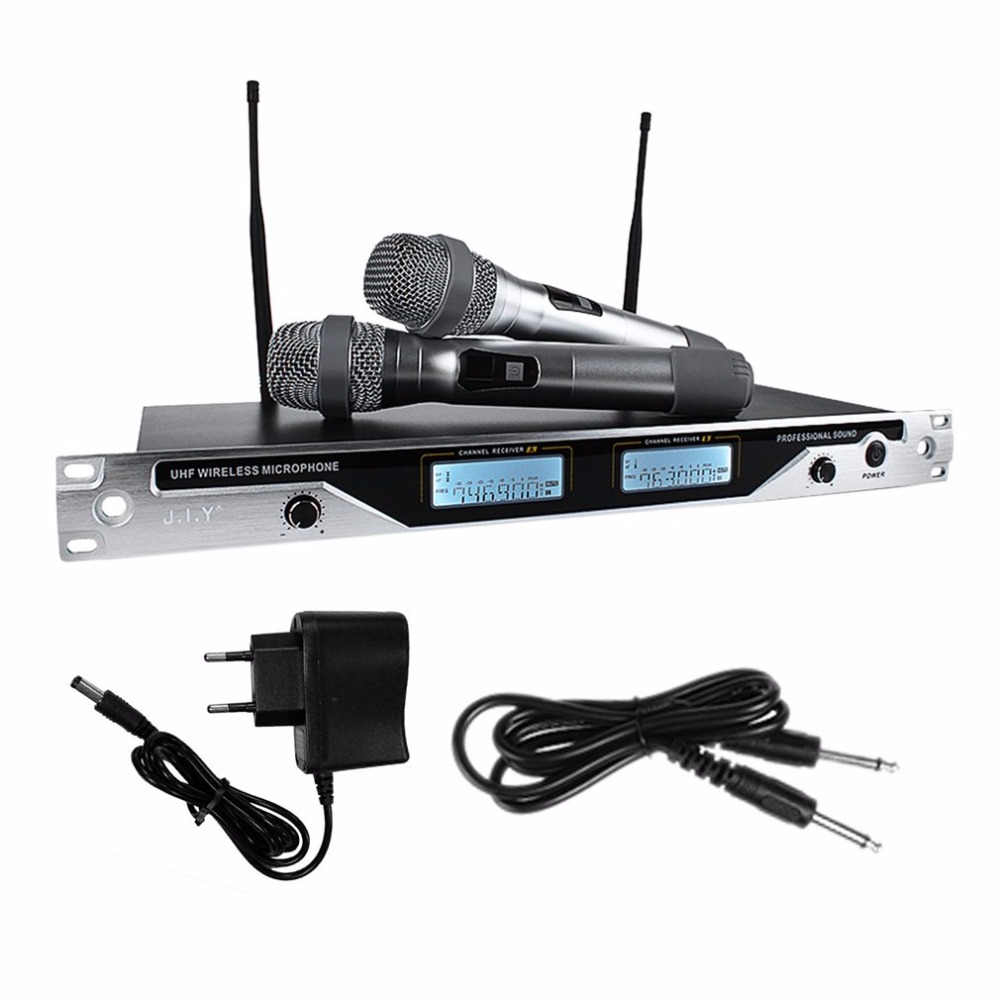 Onleny EU-7600 Professional Wireless Microphone System UHF Dual Channel 2 Handheld Mic Transmitter Handheld Karaoke Microphone boya by whm8 professional 48 uhf microphone dual channels wireless handheld mic system lcd display for karaoke party liveshow