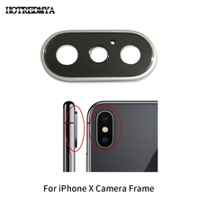 High Quality Back Rear Camera Glass Lens For iPhone X Ten 5.8 Sapphire Crystal Protector + Frame Black White