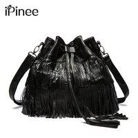 IPinee Sıcak Satış!! moda Kadın Hakiki Deri Püsküller Çanta Hobo Çanta Omuz Tote Bayanlar Kadın Haberci Çanta