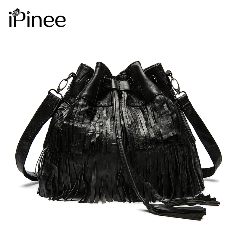 iPinee Hot Sale!! Fashion Women Genuine Leather Tassels Bags Hobo Handbags Shoulder Tote Ladies Women Messenger Bags hot sale tassels leopard pattern pashmina for women