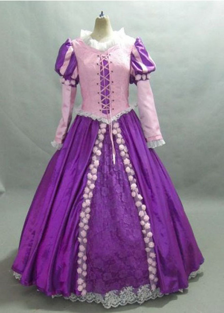 New Arrival Princess Rapunzel Costume Adult SIZE 6,8,10,12,14,16 Purple and Pink