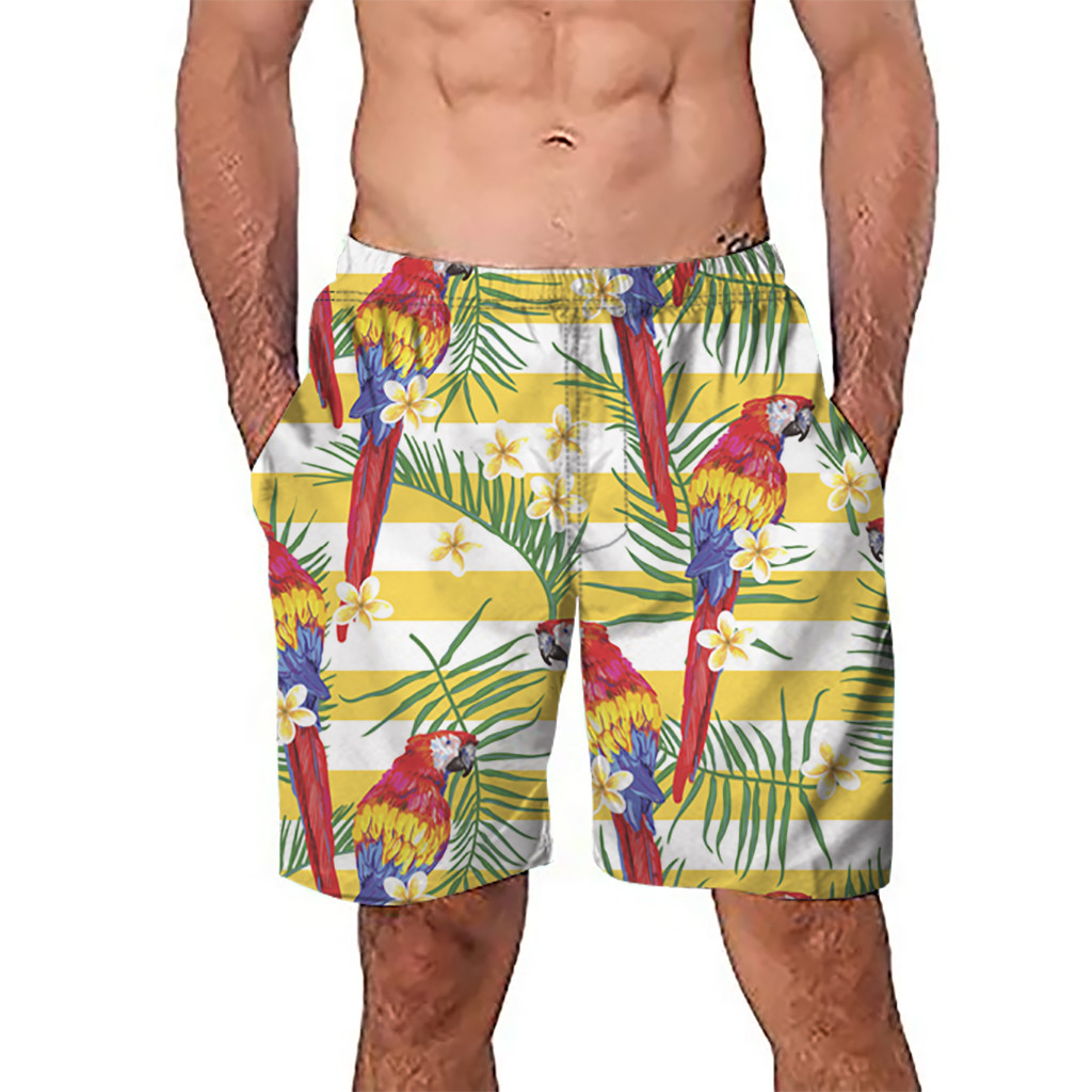 CHAMSGEND   Shorts   Men's   Board     Shorts   Surfing Trunks 3D Parrot Printing Patchwork Beach   Shorts   Swimwear Male   Short   Pants 6.Feb.12