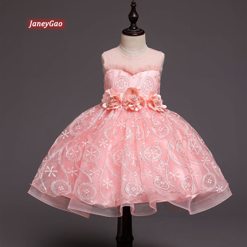 JaneyGao   Flower     Girl     Dresses   For Wedding Party Pink Princess Little   Girl   First Communion   Dresses   Elegant Formal Gown 2019 New