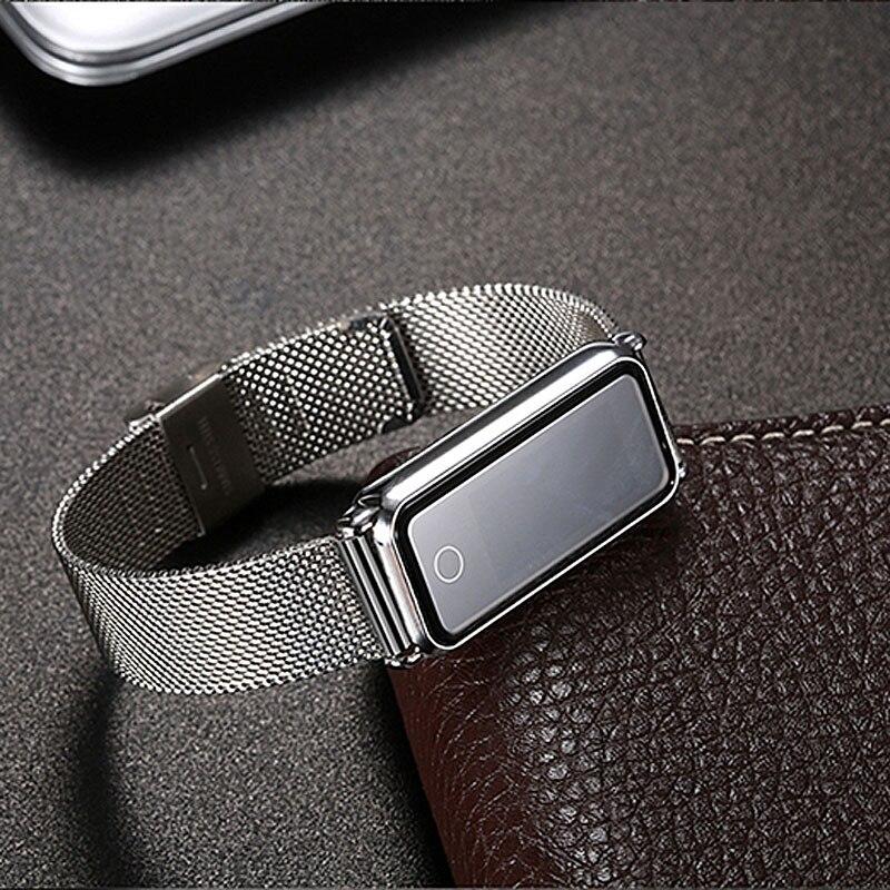 Bracelet intelligent moniteur de fréquence cardiaque bracelet intelligent mesure de la pression artérielle bracelet en métal IP67 étanche montre de santé pour iPhone