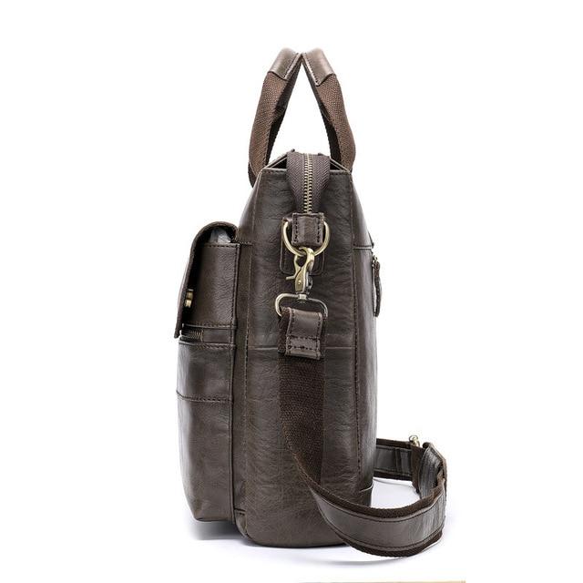 Vintage Men's Bag Genuine Cow Leather Briefcase