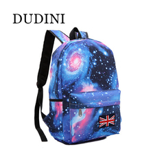 DUDINI Fashion Women Stars Universe Space Printing Backpacks School Book British Flag Stars Bag 4 Color Style