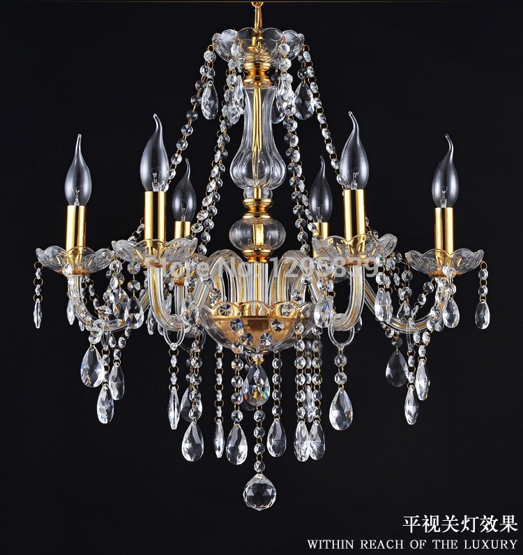 Multiple Chandelier lighting lamps candle chandelier crystal lamp living room European-style golden restaurant bedroom lamp ZX82