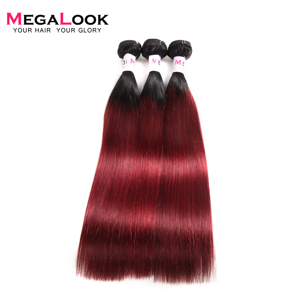 Megalook 1b99j Ombre Straight Human Hair Bundles Brazilian Remy Hair Extensions