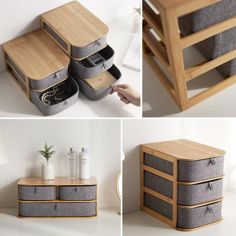 Boîte de rangement en bois de bambou multi-couches de haute qualité avec tiroirs en tissu Oxford pour bureau VE