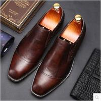 CH. КВОК Европейский Мужская наивысшего качества туфли дерби с квадратным носком без шнуровки теплые кожаные туфли торжественный свадебный