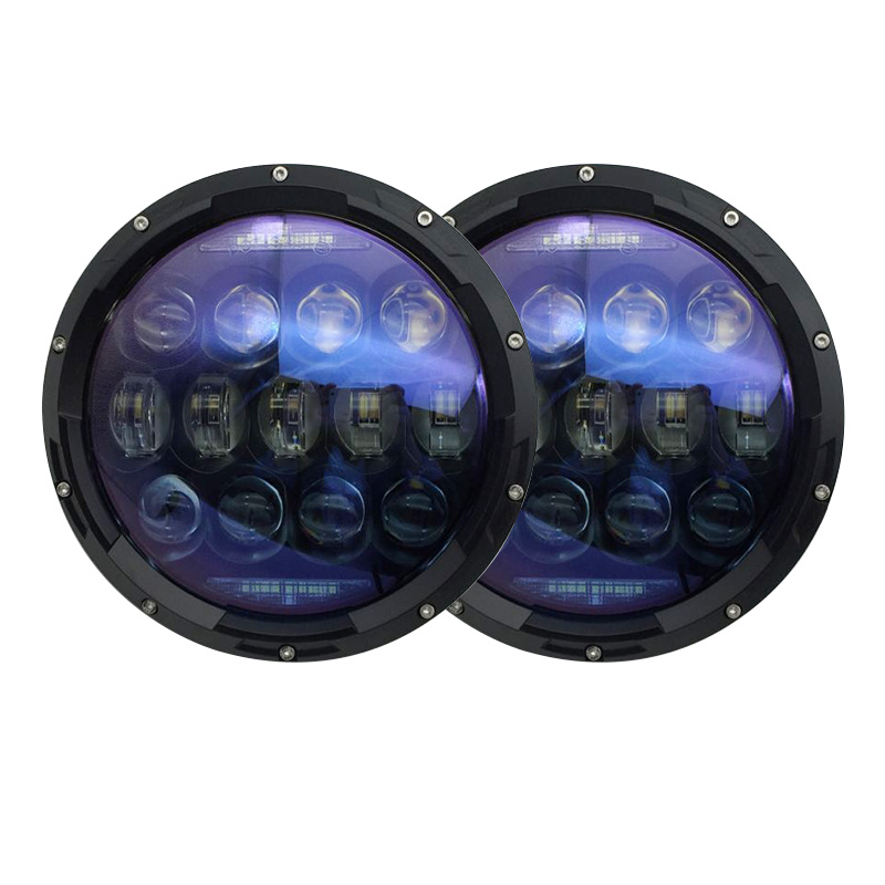Blue projector Lens 7 Inch led headlights 130W High/Low beam DRL Turn signal lights for Jeep Wrangler JK TJ Hummer H1 H2 funlight 1 pair 7 inch black round 36w led headlights with high low beam for jeep wrangler jk tj hummer h1