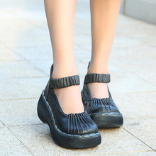 Genuine Leather High Quality of Handmade Comfortable  Casual Handsome Women's Shoes Thick Soled Shoes