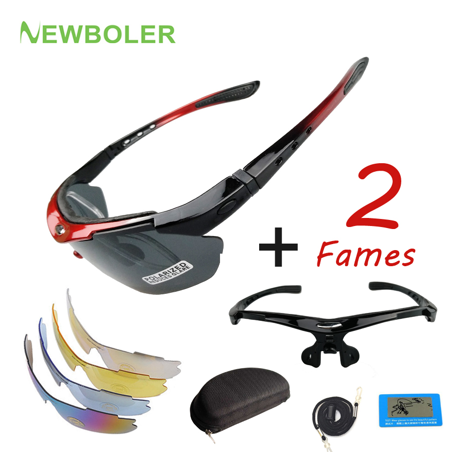 NEWBOLER Cycling Glasses 2 Frame 5 Lens Polarized For Men Women MTB Bike Bicycle Eyewear Hiking Sunglasses Outdoor Sport Goggles