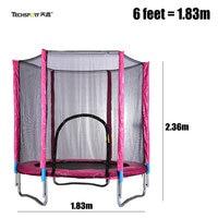 TECHSPORT 6 feet Jumper Trampoline with Safety Net, 1.83m indoor kids trampoline, thicken steel pipe adult trampoline