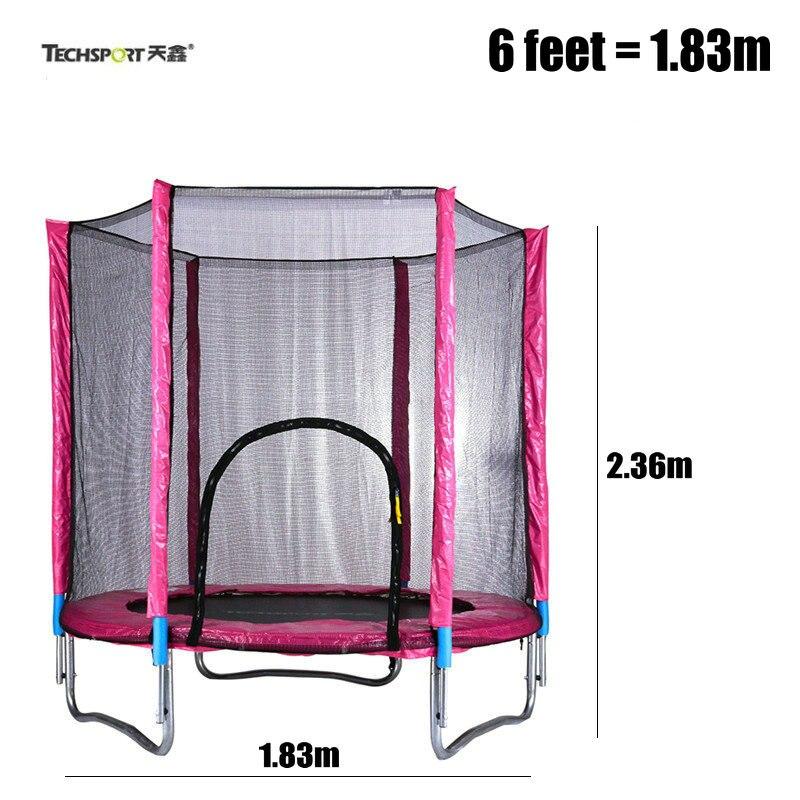 TECHSPORT Trampoline de pullover de 6 pieds avec le filet de sécurité, trampoline d'intérieur d'enfants de 1.83 m, épaississent le trampoline adulte de tuyau en acier