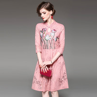 Slim New Dress 2017 Summer Fashion Pink Sweet Elegant European Style Half Sleeve Dress Cheongsam Collar Embroidery Lace Dress