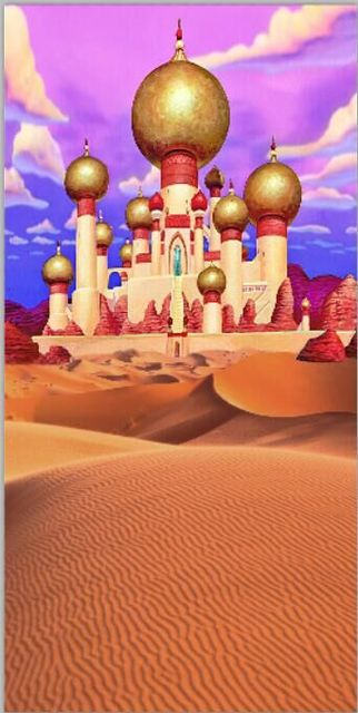 5x7FT Clouds Sky Gold Mosque Palace Castle Desert Sand Hills Custom Photo Studio Backdrop Background Vinyl