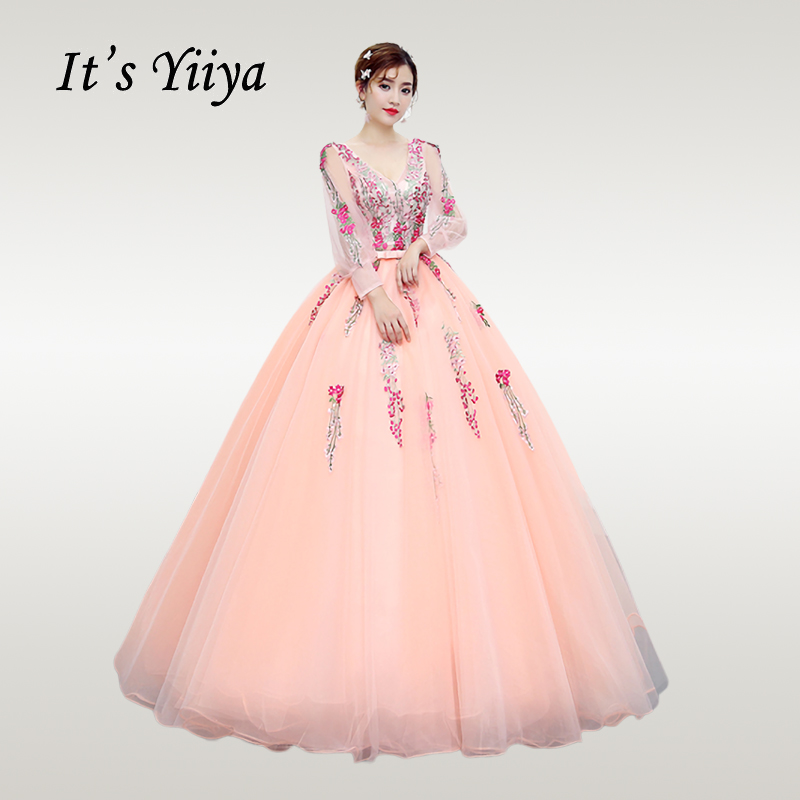 It 39 s YiiYa Wedding Dress 2019 Puff Sleeve O neck Floor Length Wedding Dresses Free Shipping Plus Size Vestido de novia CH021 in Wedding Dresses from Weddings amp Events