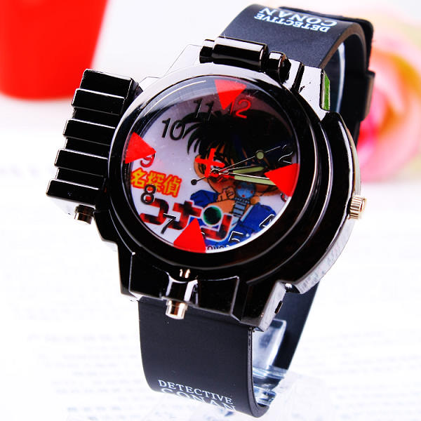 2016 New Children Fashon With Red Line Light Conan Laser Gift Child Watch Copper Laser Wristwatches Boy Student Sports Watches