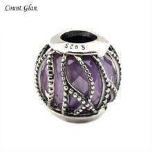 2016 Otoño Joyería de Entrelazamiento Resplandor Púrpura y Claro CZ Beads Adapta Pandora Charms Pulseras de Plata Para La Fabricación de Joyas
