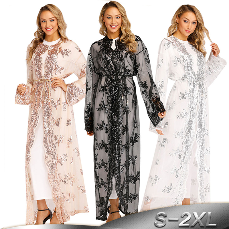 Plus Size Robe Abaya Dubai Mesh Cardigan Muslim Hijab Dress Jilbab Caftan Turkey Islamic Clothing Eid Abayas For Women Kaftan