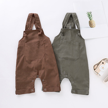 Летние детские штаны на подтяжках для мальчиков и девочек Однотонные хлопковые Эластичные подтяжки без рукавов, штаны, комбинезоны, брюки