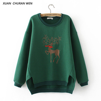 XUANCHURANWEN Frauen Fleece Hoodies Sweatshirts Tier Nette Plus Größe Verdicken Herbst Sweatshirt Lose Adrette Pullover YY98