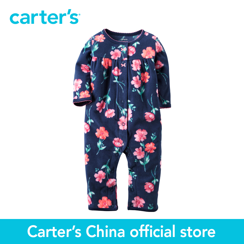 Carter's 1 pcs baby children kids Fleece Floral Jumpsuit 118G634, sold by Carter's China official store  carter s 1 pcs baby children kids long sleeve embroidered lace tee 253g688 sold by carter s china official store