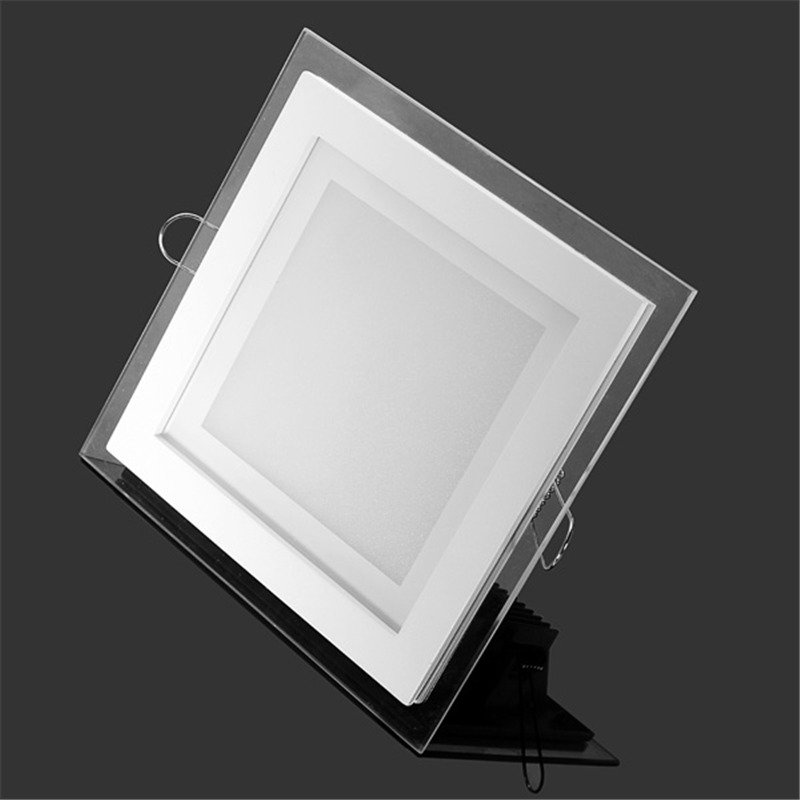 18 Watt LED Panel Downlight Square Glass Panel Lights High Brightness Ceiling Recessed Lamps AC85-265 With Adapter